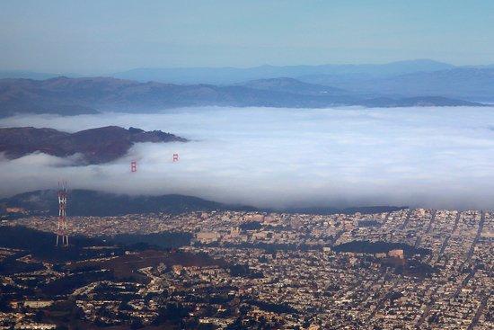 United Airlines: UA1107 SFO-PHX A320 FC Seat 2F - Fog on San Francisco Bay and Over The Peninsula w/ Golden Gate Bridge Peeking Above