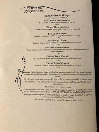 Menu 4 Picture Of Tawakal Halal Cafe Boston Tripadvisor