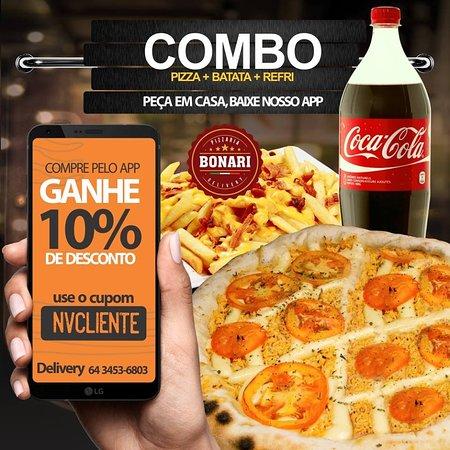 Combo Pizza - Pizza Grande + Batata Frita + Refrigerante 2 Litros.
