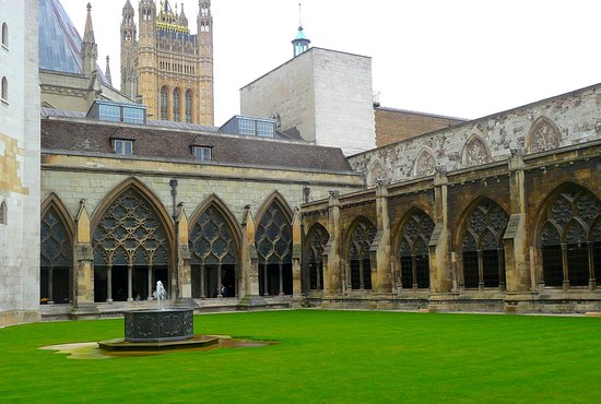 Chapter House cloisters, with the Palace of Westminster in background