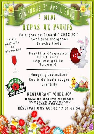 MENU DE PÂQUES 2019  Restaurant ouvert midi et soir  téléphone au 06.17.01.69.54