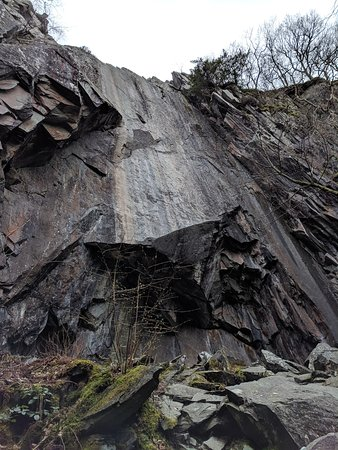 lookup up the face of the cliff for the mega abseil
