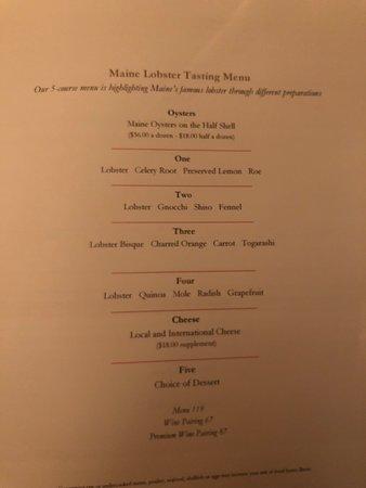 Natalie's Restaurant: Sample of a lobster tasting menu