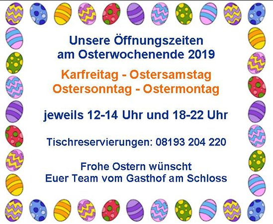 Öffnungszeiten Oster 2019
