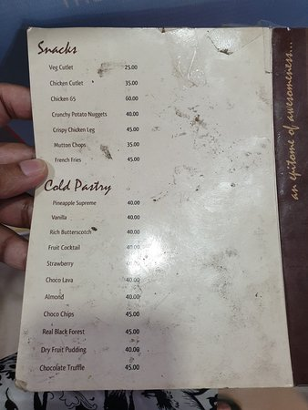 Snacks and Cold Pastries Menu