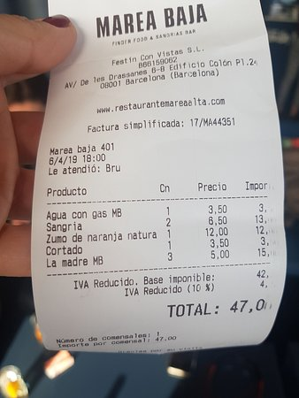 The Bill Where They Wanted To Charge Me 12 Eur For The Orange Juice Without Showing Me The Price In The Menu Picture Of Marea Alta Barcelona Tripadvisor