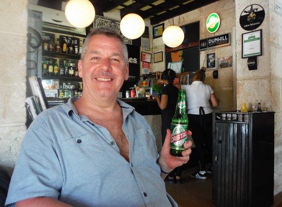 Beatles Bar: Author enjoying his beverage!