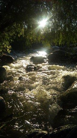 el arroyo crecido ,una mezcla del sonido del agua ,el canto de los pajaros y la despedida del sol reflejada.