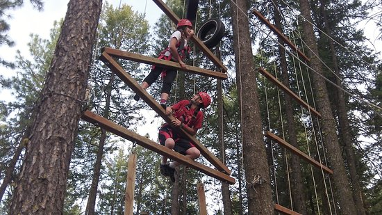 Nine Mile Falls, واشنطن: Working their way up the vertical obstacle course.