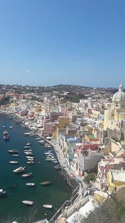 La Gorgonia: le restaurant est en contrebas de ce formidable paysage! Allezà Procida, tout le monde court à Capri, mais cette petite île est sublime!