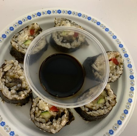 Vegetarian and vegan sushi, made with whole grain rice, quinoa and served with tamari sauce, ginger and wasabi-served in a paper tray that goes to the compost heap!#makeyourtummysing