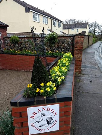 Brandon, UK: The Remembrance garden with the spring display