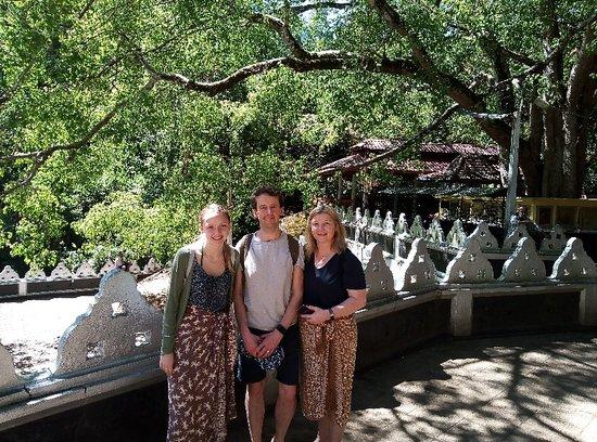 UK family in Dova temple Uva province Sri Lanka
