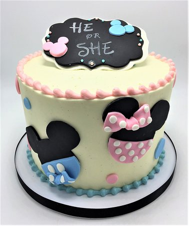 Excellent Minnie Mickey Mouse Gender Reveal Cake Picture Of Flavor Personalised Birthday Cards Vishlily Jamesorg