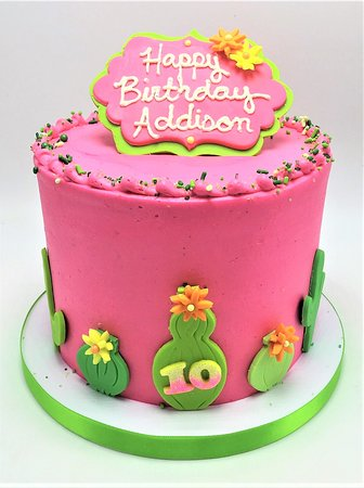 Peachy Pink Green Cactus Birthday Cake Picture Of Flavor Cupcakery Funny Birthday Cards Online Alyptdamsfinfo