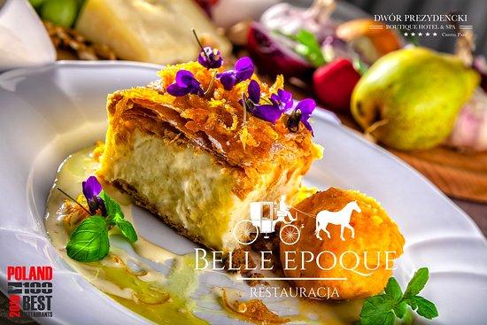 Belle Epoque Restaurant: Kremówka Dworska z kandyzowanymi pomarańczami i sorbetem pomarańczowym