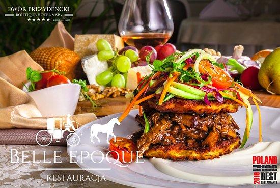 Belle Epoque Restaurant: Placek ziemniaczany z rillette ze szpondra wołowego ze świeżymi warzywami