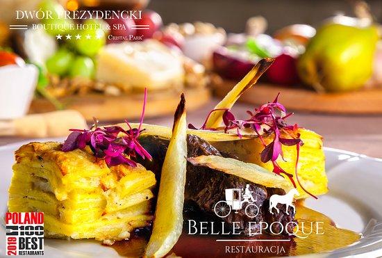 Belle Epoque Restaurant: Policzki wołowe z gratin ziemniaczanym i pieczoną pietruszką