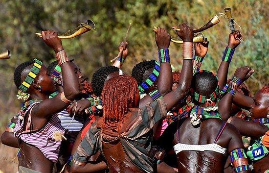 Hamer tribes women dancing bull jumping ceremony