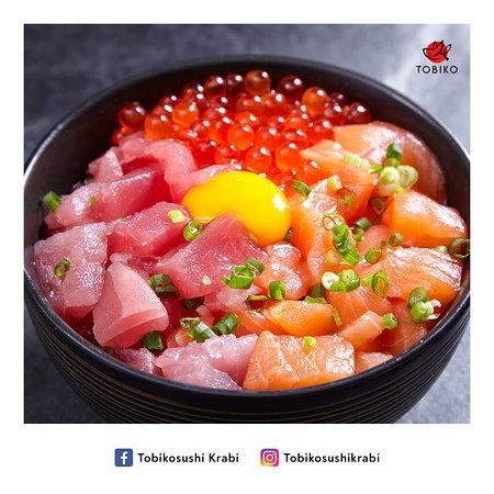 3 combo sushi bowl - hotate - otoro negi - chutoro
