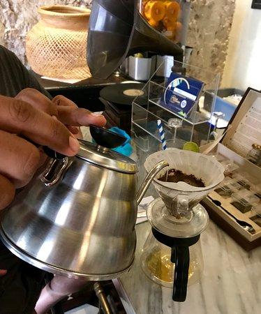 Hand-dripped coffee served at Epoca