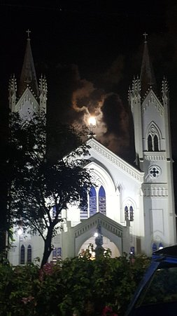 Good Friday Easter pink Moon rising over the Cathedral, most beautiful