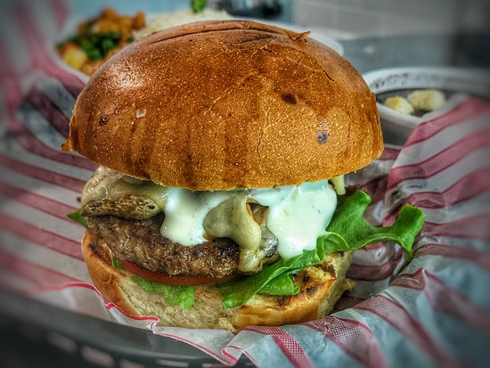 Casual Kitchen and Catering: Mushroom and swiss burger