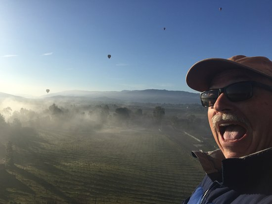 Sunrise Temecula Balloon Flight: Up, Up & Away, with 4 other balloons in the background.