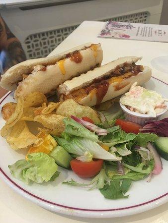 Chicken cheese and bbq panini