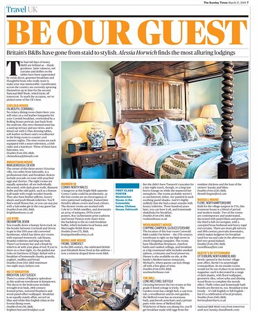 Russell House Flore: Sunday Times feature as one of the top ten places to stay in the UK 2019
