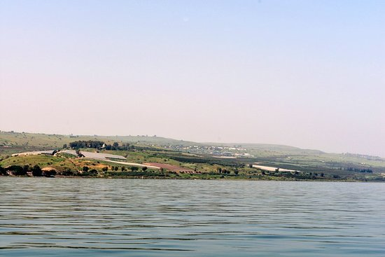 Ginosar, Israel: The view from the Sea of Galilee of where Jesus gave the Sermon on the Mount (Mount of Beatitudes)