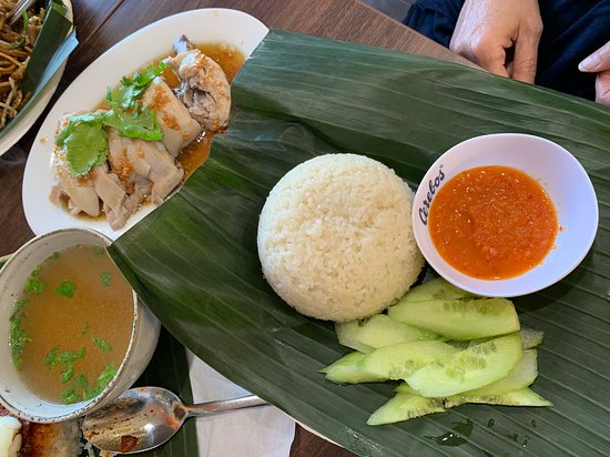 Sim's Kitchen: Chicken Rice served with a bowl of soup and cucumber which is a nice touch