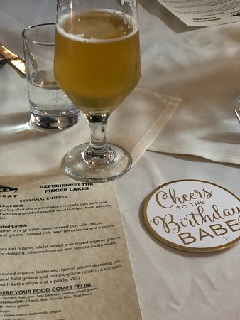 Lunch included excellent choices from a limited menu.  One wine pairing and one glass of beer.