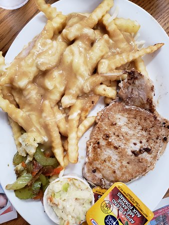 Bluefin Licensed Dining Room - Restaurant (Souris, PEI, Canada): good pork chops, poutine.
