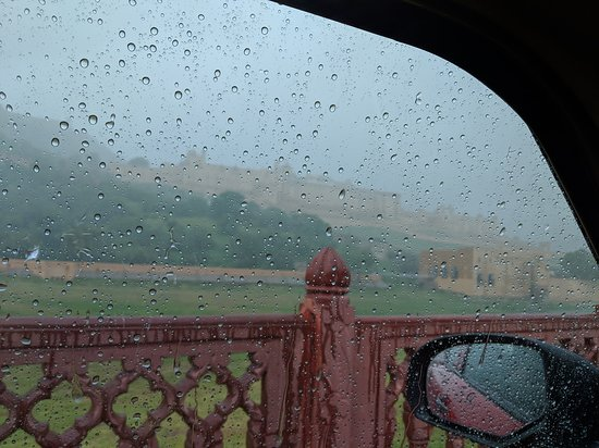 View in monsoon from window of the car