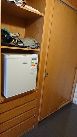 Room fridge and wardrobes.