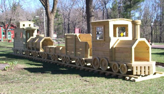 Riverside and Great Northern Railway: Kids can also enjoy playing on the new wooden train set by the picnic area.