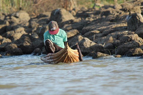 Lake Baringo: Getting ready for a day of fishing on a balsa boat