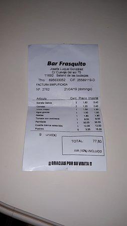 Bar Frasquito: La cuenta de una comida de 6 personas, todo delicioso