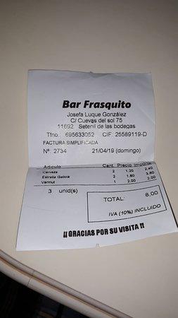 Bar Frasquito: Cuenta de unas cervezas y unas cañas
