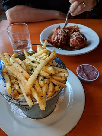 The garlic-herb fries come with an olive tapanade-like dipping sauce. If you like olives, it's great.