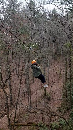 This picture is on their zipline. Loved every bit of it! :)