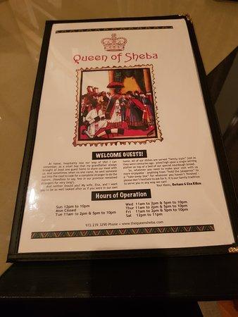 Queen of Sheba: Menu.