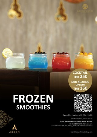 Frozen Smoothies start from THB 150 for non alcohol and THB 250 for cocktail.