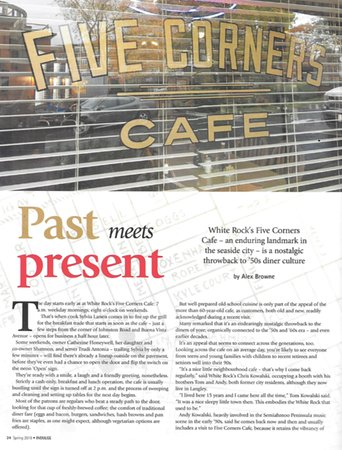Five Corners Cafe: An article about our Diner in Indulge, a Vancouver Magazine Pg1