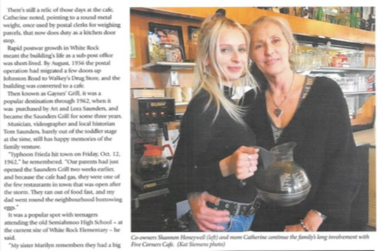 Five Corners Cafe: An article about our Diner in Indulge, a Vancouver Magazine Pg3