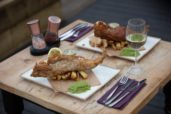 Fish & Chips. Pick from 3 different flavoured batters -  Jerk, Tandoori or Traditional Beer