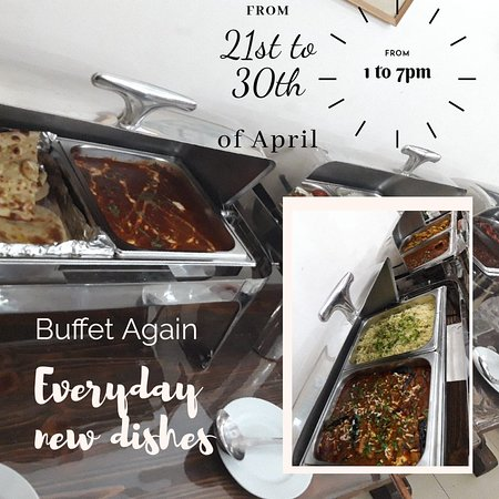 Delicious Indian Food at Mihul Indian Restaurant (21 april- 30 april) from 1pm to 7pm  Unlimited Buffet 2500AMD/Person  Menu for 22 April (Monday):  Main dishes change everyday  All you can eat (unlimited)  #Chicken Handi #Paneer Butter Masala #Yellow Daal  #Veg Noodles  #Jeera Rice #Butter Naan #All Roti #Onion Salad #Mint Chutney  #Nalbandyan47 #IndianBuffet #MihulIndianRestaurant 091657100, 041657100, 094066708