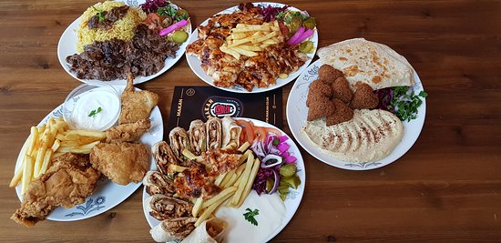 Falafel, Chicken Shawarma and Broasted chicken