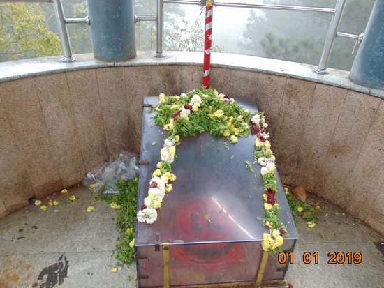 The glass box with the foot prints of Lord Venkateswara.